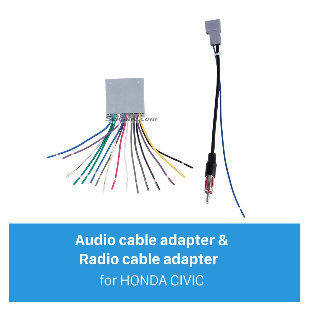 medium resolution of top wiring harness adapter audio cable and radio antenna cable for honda civic