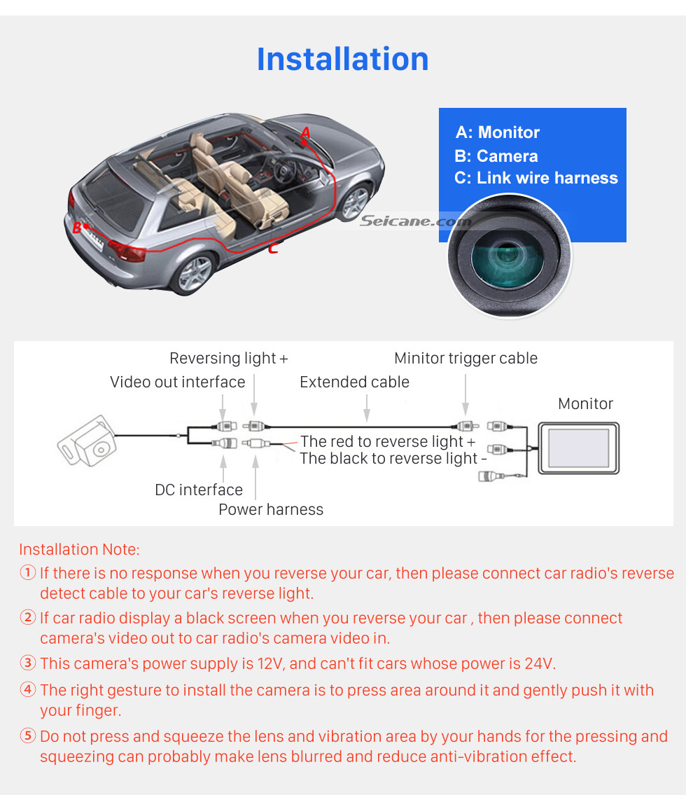 hight resolution of  installation hd sony ccd 600 tv lines wired car parking backup reversing camera for kia k5
