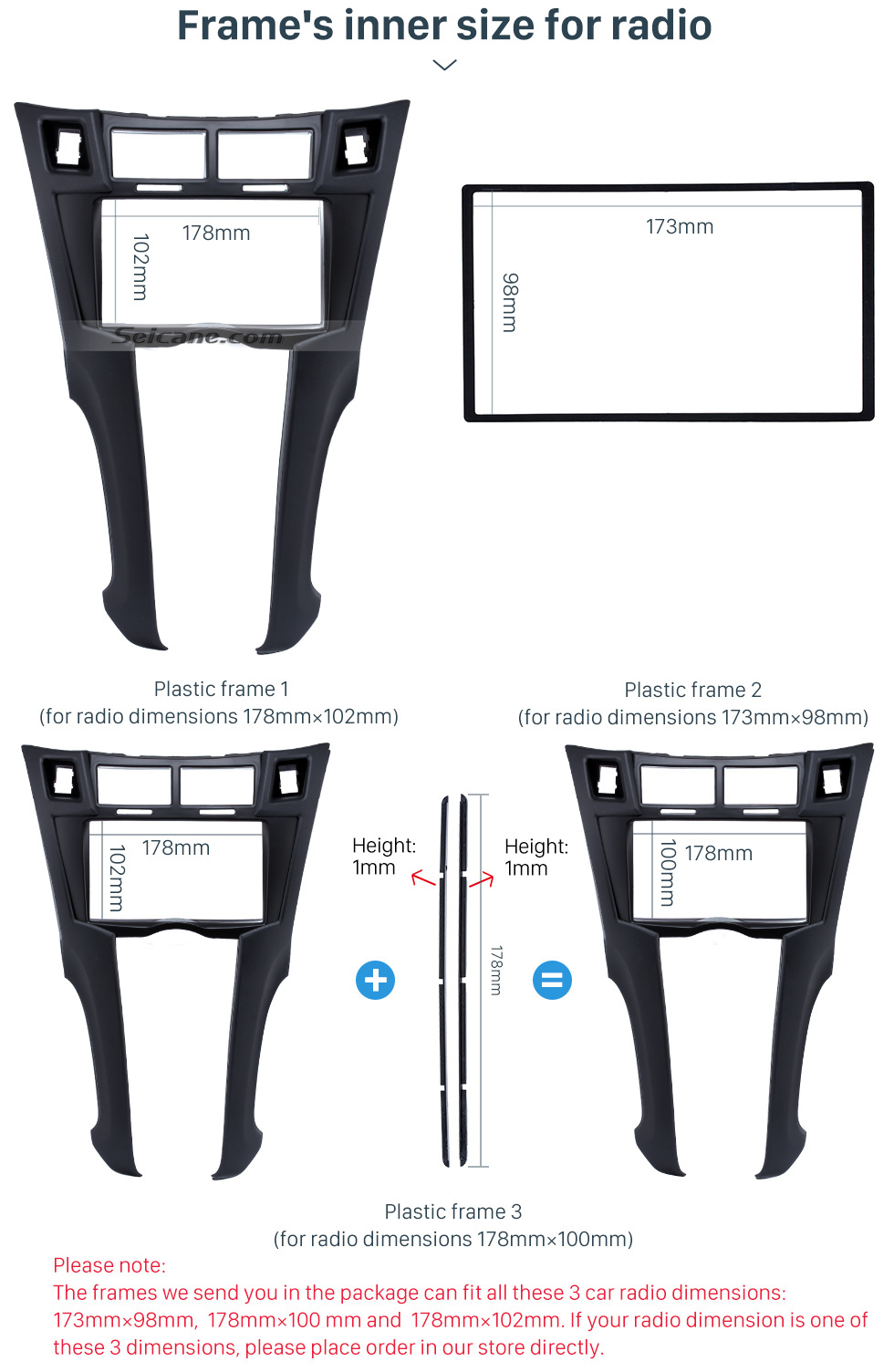 2DIN Car Radio Fascia Installation Fitting Frame Kit For