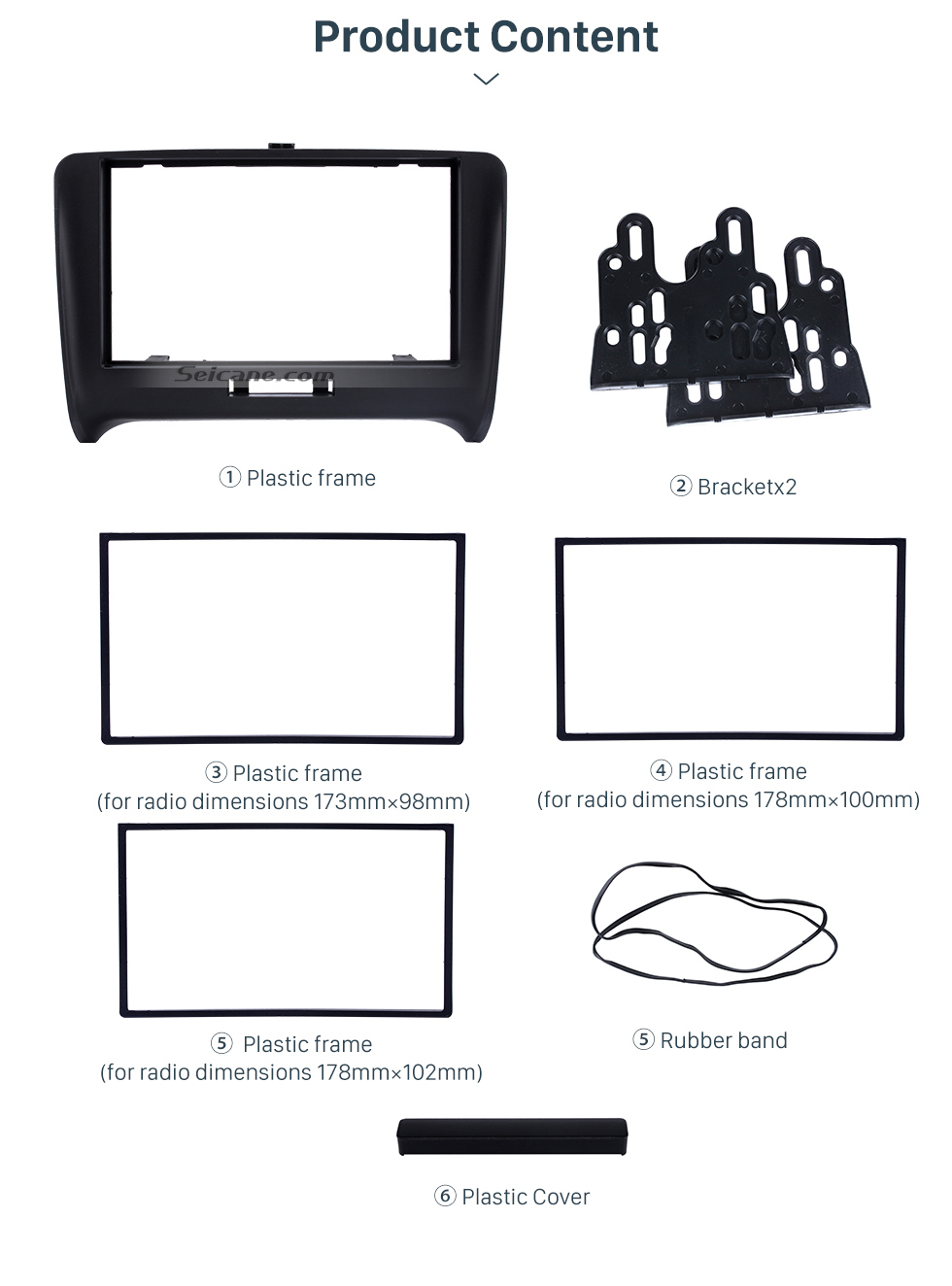 Black Double Din 2000+ Audi TT Car Radio Fascia Autostereo