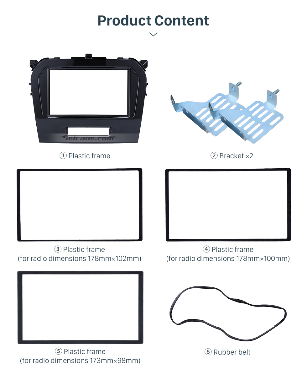 UV Black Double Din 2015 Suzuki Vitara Car Radio Fascia