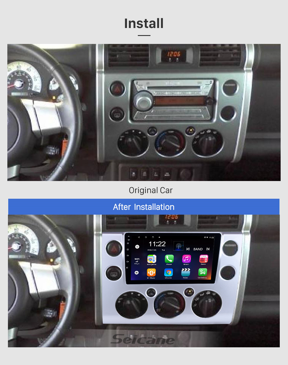 hight resolution of  seicane 9 inch full touchscreen 2007 2018 toyota fj cruiser android 8 1 radio gps navigation
