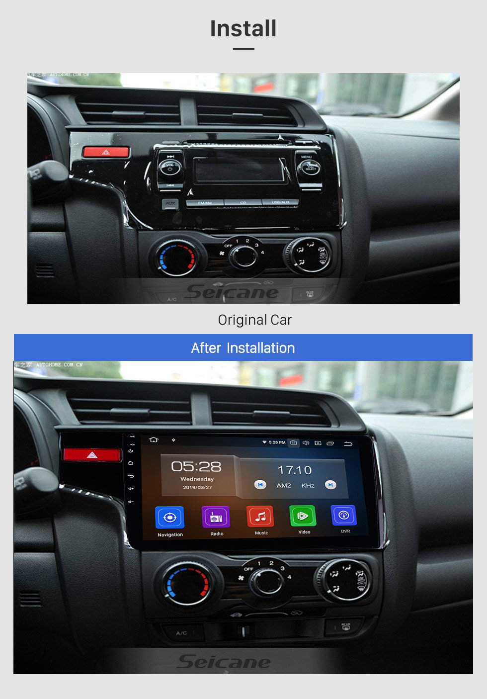 medium resolution of  seicane 10 1 inch 2014 2015 2016 honda fit 1024 600 touchscreen android 9 0 radio bluetooth