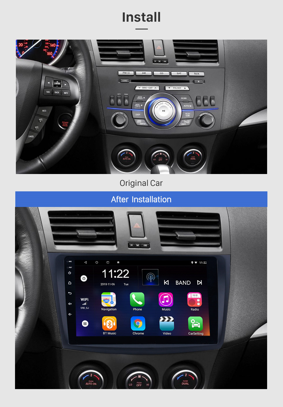 medium resolution of  seicane 9 inch touch screen android 8 1 car radio for 2009 2010 2011 2012 mazda 3