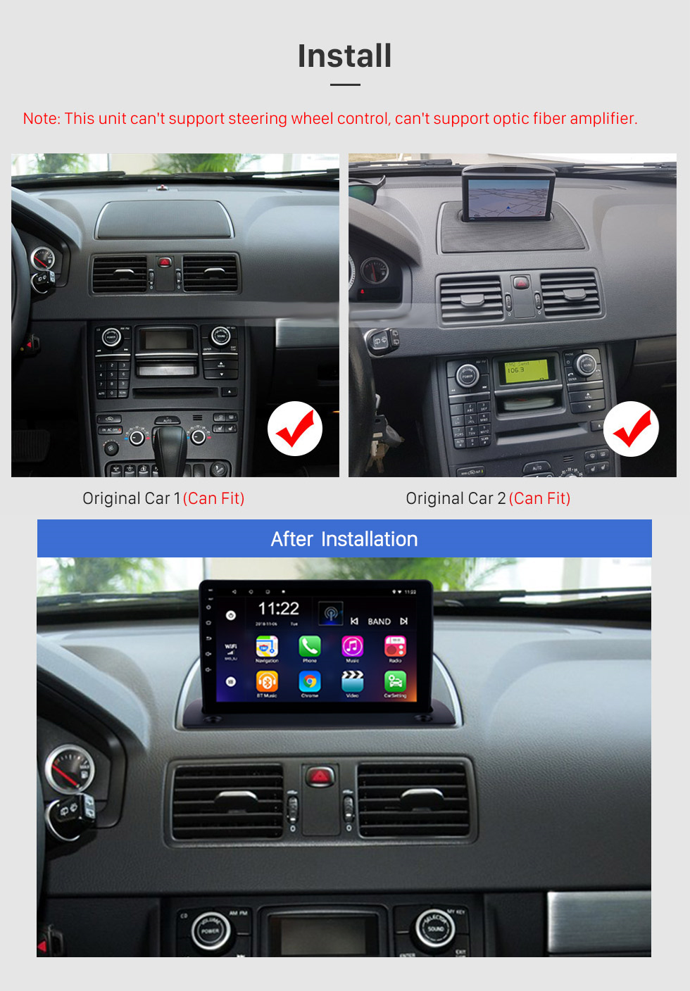 medium resolution of  seicane 2004 2014 volvo xc90 android 8 1 9 inch hd touchscreen radio gps navigation bluetooth