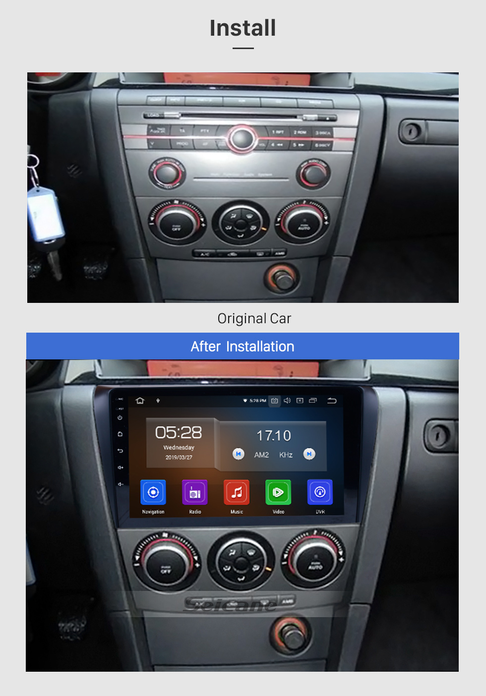 hight resolution of  seicane all in one android 9 0 2004 2009 mazda 3 radio upgrade with