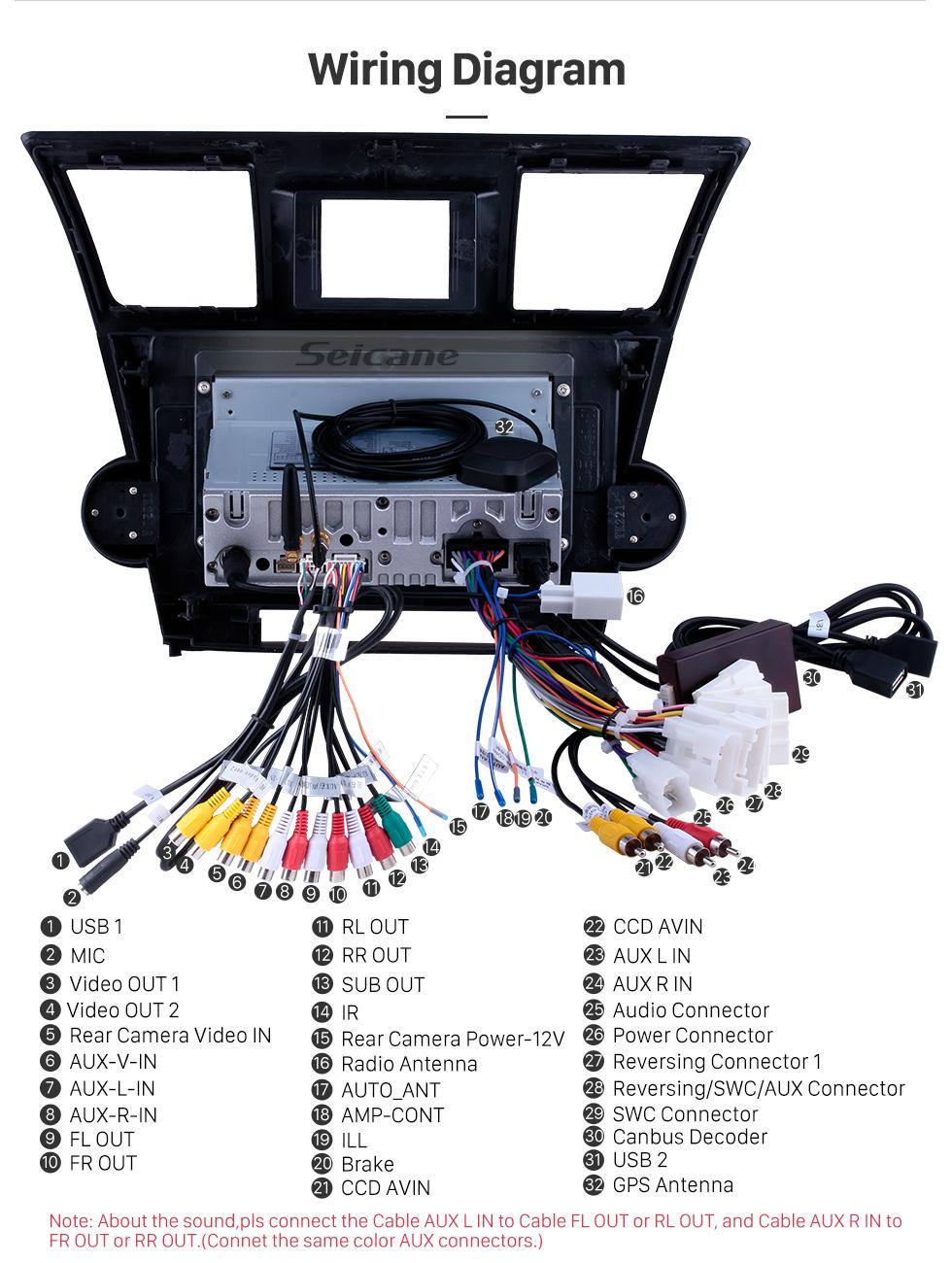 medium resolution of  seicane 10 1 inch pure android 9 0 2008 2014 toyota highlander radio removal with sat nav