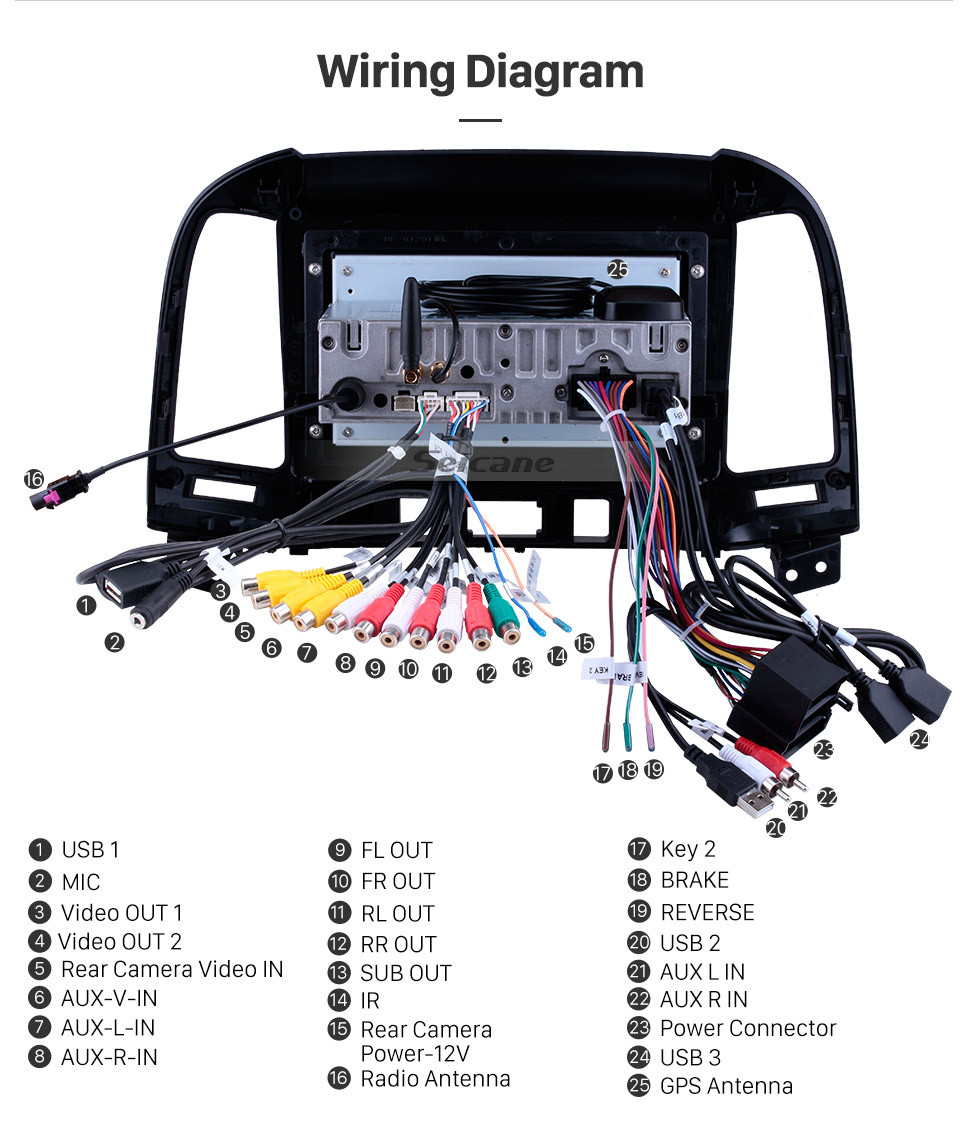 hight resolution of  wiring diagram 2006 2012 hyundai santa fe oem android 9 0 hd 1024 600 touch screen on