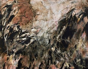This Asphalt and Alkyd painting, Dances With Fire #3 by Michael Seiler is an excellent example of his Contemporary fine art which was part of several exhibitions in galleries and museums and may be seen at Seilers' Studio and Gallery in Zanesville, Ohio.