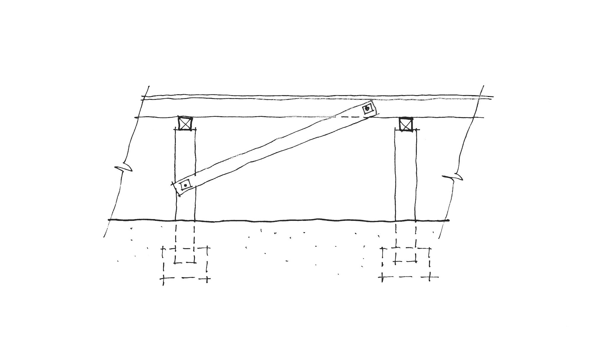 hight resolution of diagonal timber brace