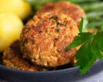 Two vegan minced meat patties on a plate