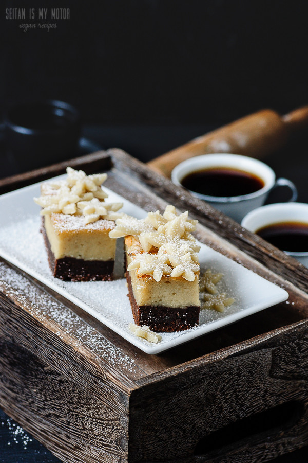 vegan marzipan cheesecake brownie bars | seitanismymotor.com