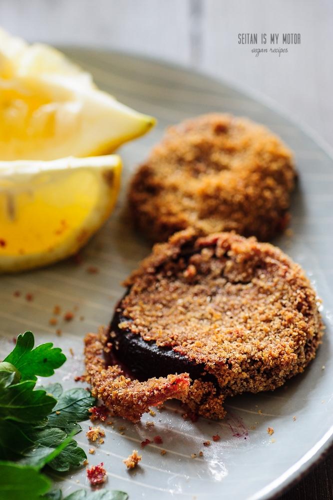 baked beet schnitzel #vegan #aquafaba