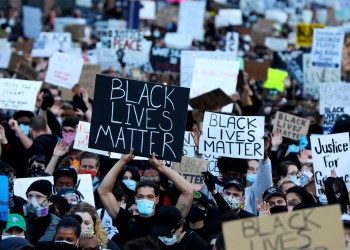 BOSTON, MASSACHUSETTS - MAY 31: Demonstrators protest in response to the recent death of George Floyd on May 31, 2020 in Boston, Massachusetts. Protests spread across cities in the U.S., and in other parts of the world in response to the death of African American George Floyd while in police custody in Minneapolis, Minnesota. (Photo by Maddie Meyer/Getty Images)