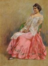 Giorgio Kienerk - Modella in abito rosa-1904
