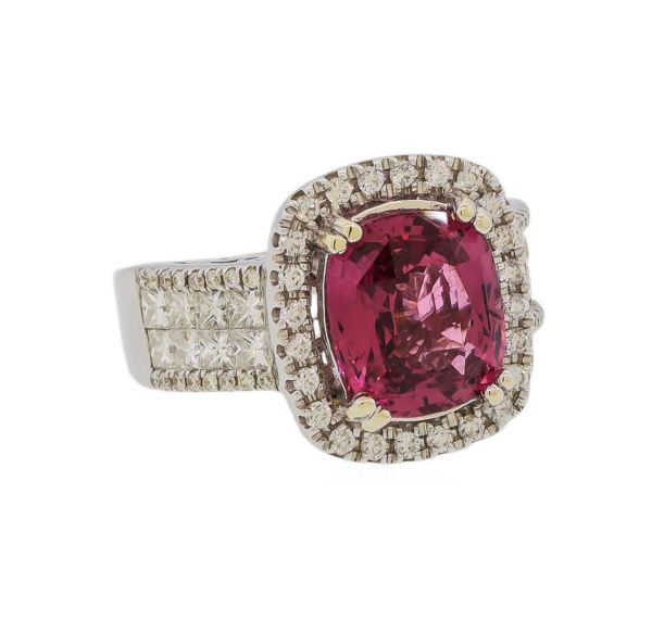 Ring Auction Red Spinel And Diamond 14kt White