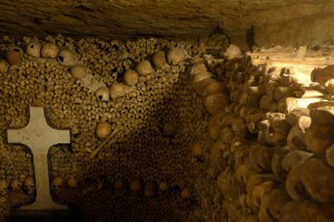 Wall of bones and skulls in the Catacombs