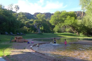 swimming pool with Mackenzie and Quinn playing