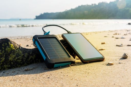 Canva - Portable solar panel is on the beach