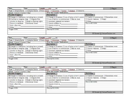 seizure diary template - seizure record chart