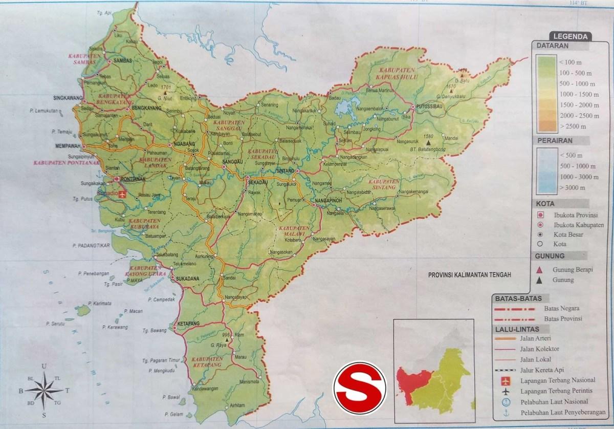 Peta Kalimantan Barat lengkap 12 kabupaten dan 6 kota ...