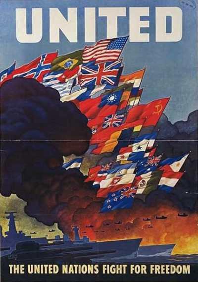 「 連合国 は自由のため戦う」と記されたポスター。「連合国は自由のため戦う」と記されたポスター。