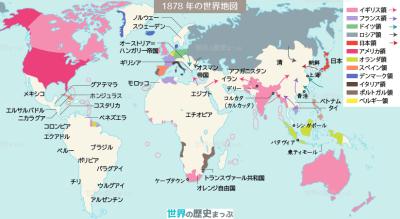 1878年の世界地図 イギリス 帝国主義