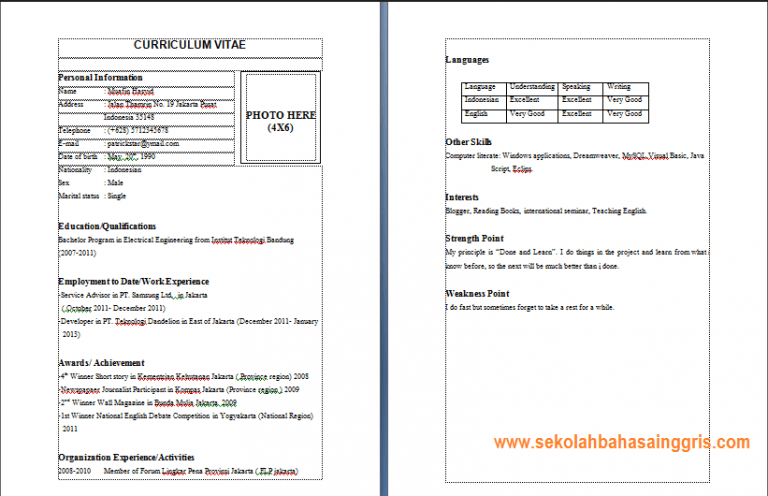 Format Curriculum Vitae Yang Baik Dan Benar Cheap Resume Writing