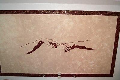 Wandschablone Hnde von Michelangelo fr ihre Wand