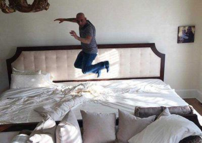 Ultrabed Mattress Customer Doing A Celebratory Jump