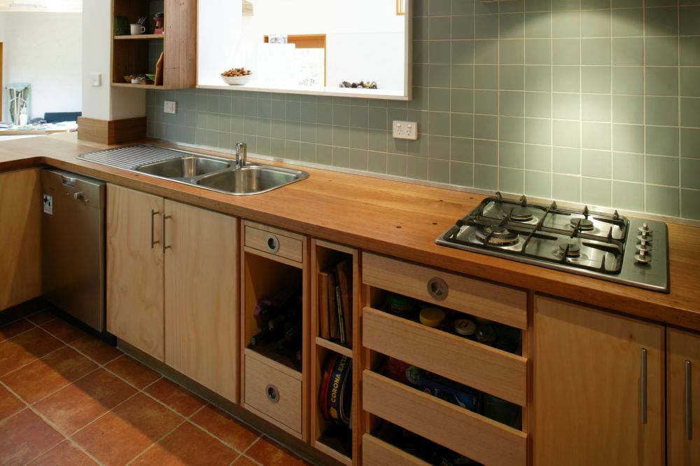 pine kitchen bench food storage select custom joinery plywood with recycled timber top