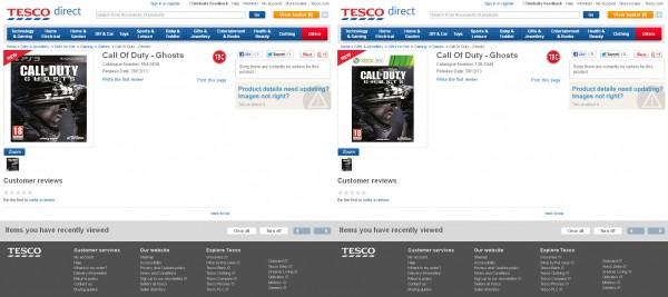 Call of Duty Ghosts Tesco Retailer