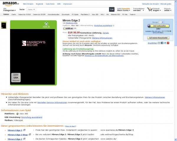 Mirror's Edge 2 - Amazon Germany