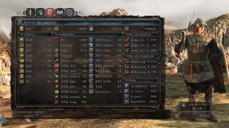 Dark Souls II - PS4 - Imagem dos Stats