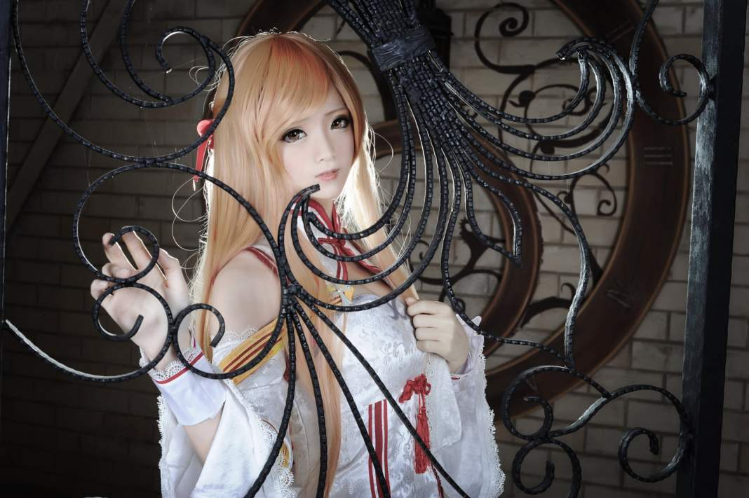 Cosplay de anime Fofo e kawaii da Asuna - Sword Art Online - With White Dress - Vestido Branco 03