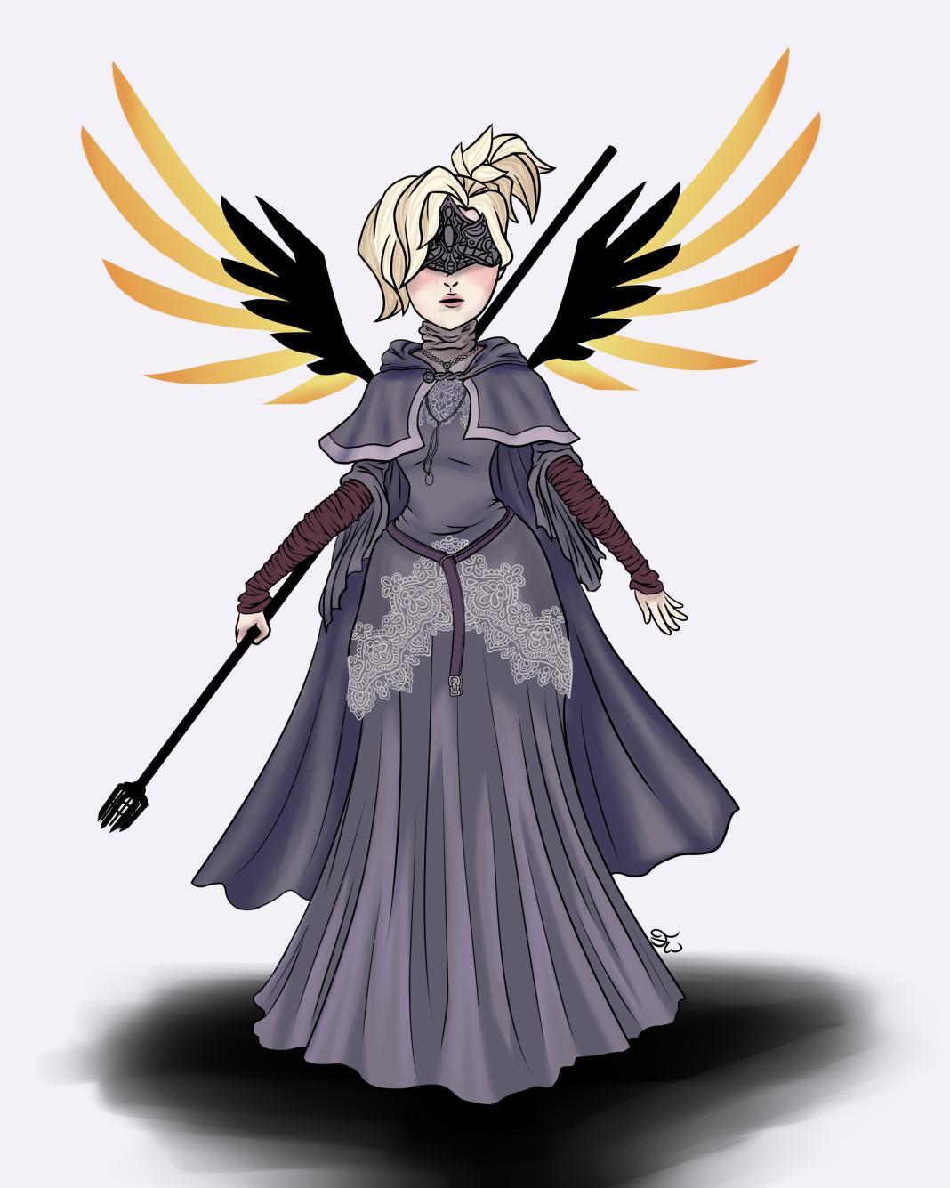 Mercy Fire Keeper - Dark Souls Crossover com Overwatch - FanArt