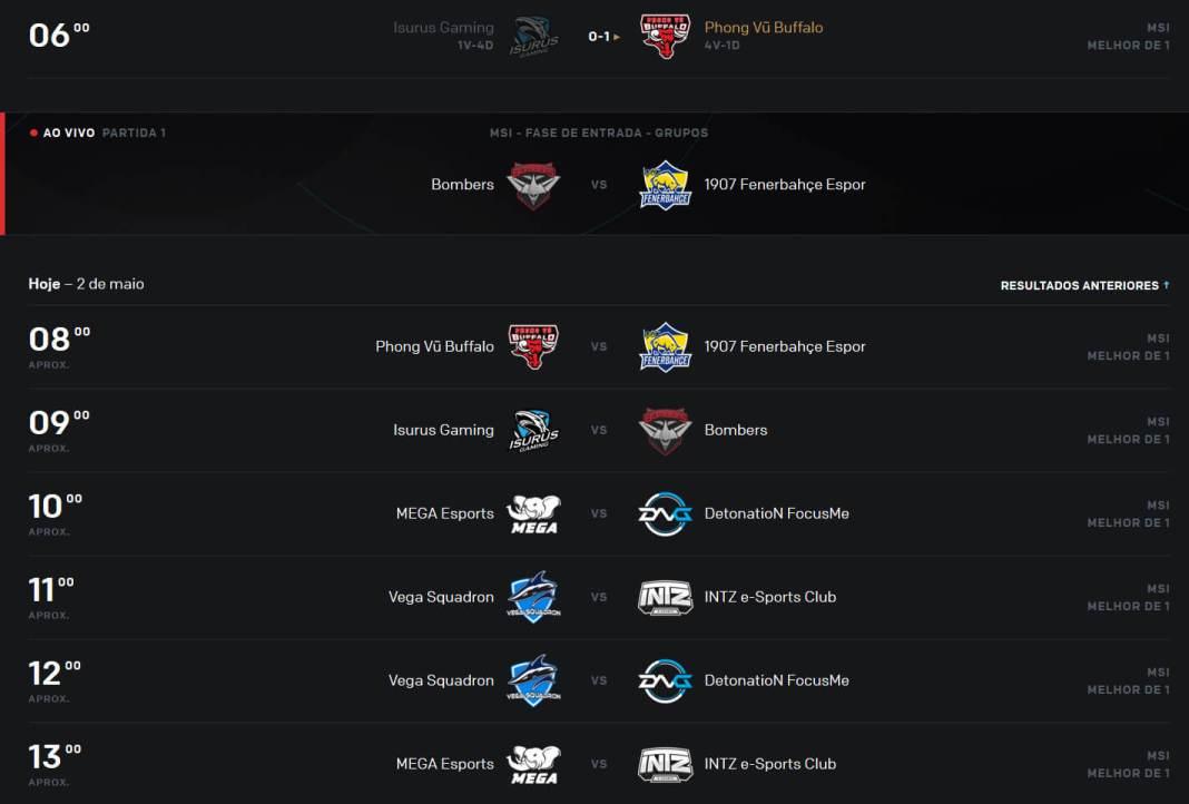 Confrontos MSI League of Legends - 2 de maio