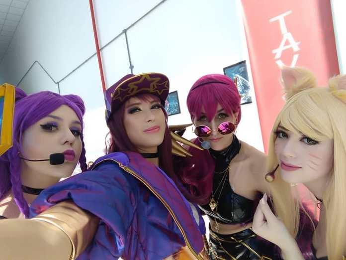 Cosplays de League of Legends KDA - Aniventure - Ahri - Akali - Kai'Sa e Evelynn
