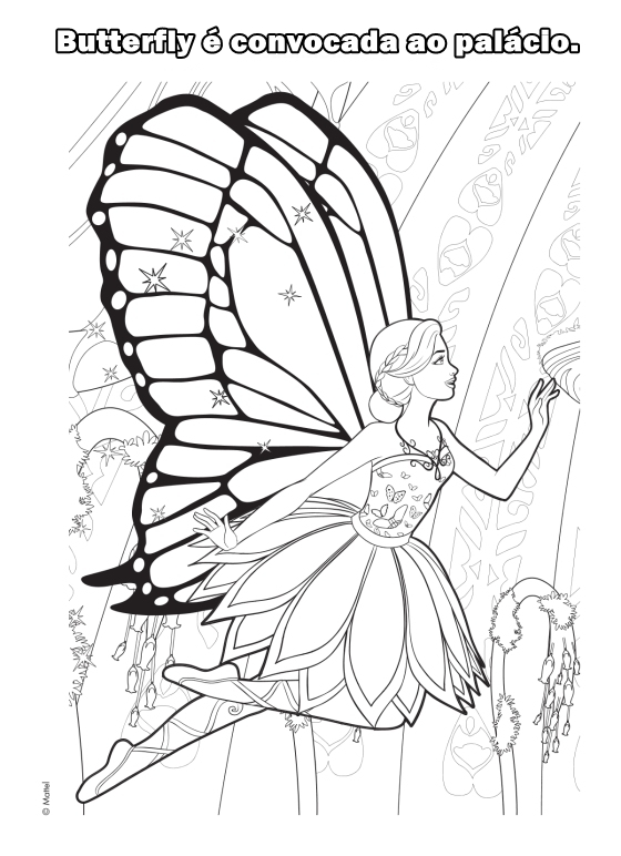 Barbie - Mariposa - The Fairy Princess - Movie - Filme - Desenhos pra colorir e moldes