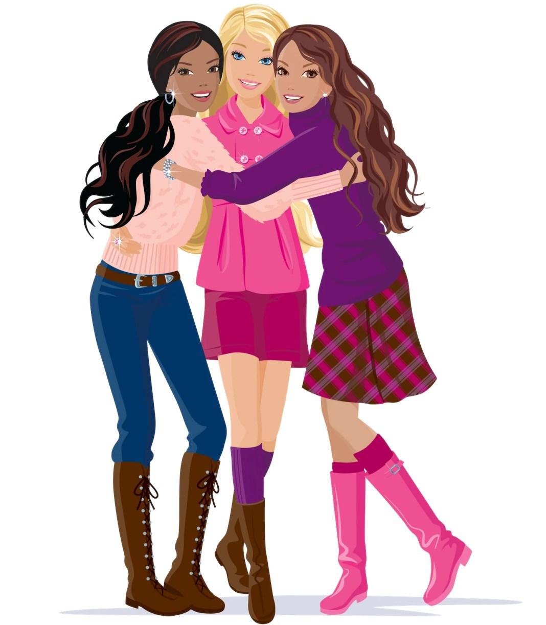 Desenhos coloridos da Barbie e amigas, com roupas elegantes