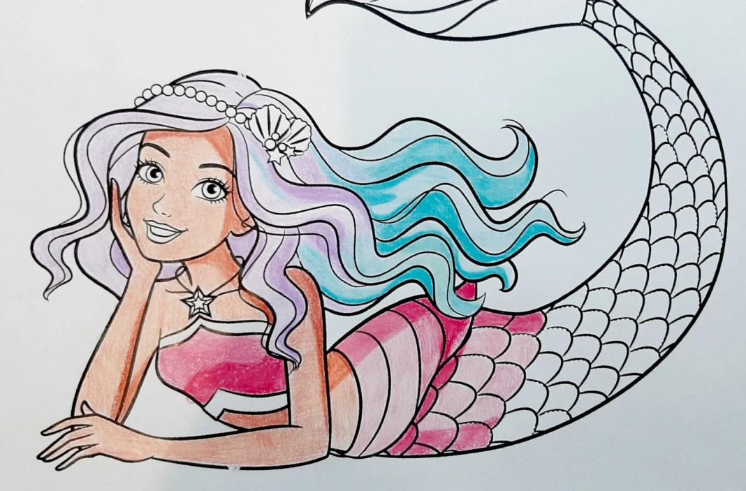 Boneca Barbie Sereia Dreamtopia - Colorindo um lindo desenho - Mermaid Coloring Pages 08