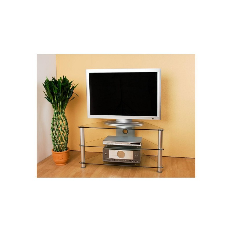 meuble d angle tv en verre clair 96x46x50cm