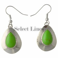 Sterling Silver Manmade Gaspeite Tear Drop Dangle Navajo ...
