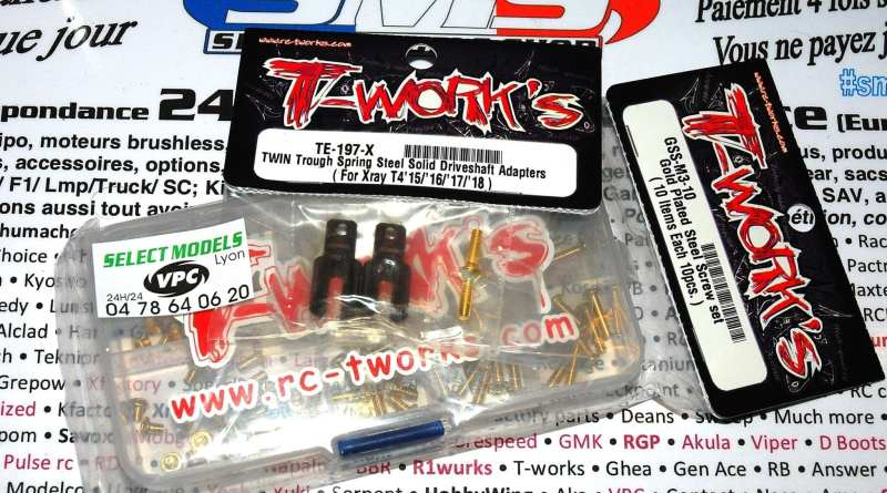 Noix de spool Xray T4 T-work's double slot et kit vis