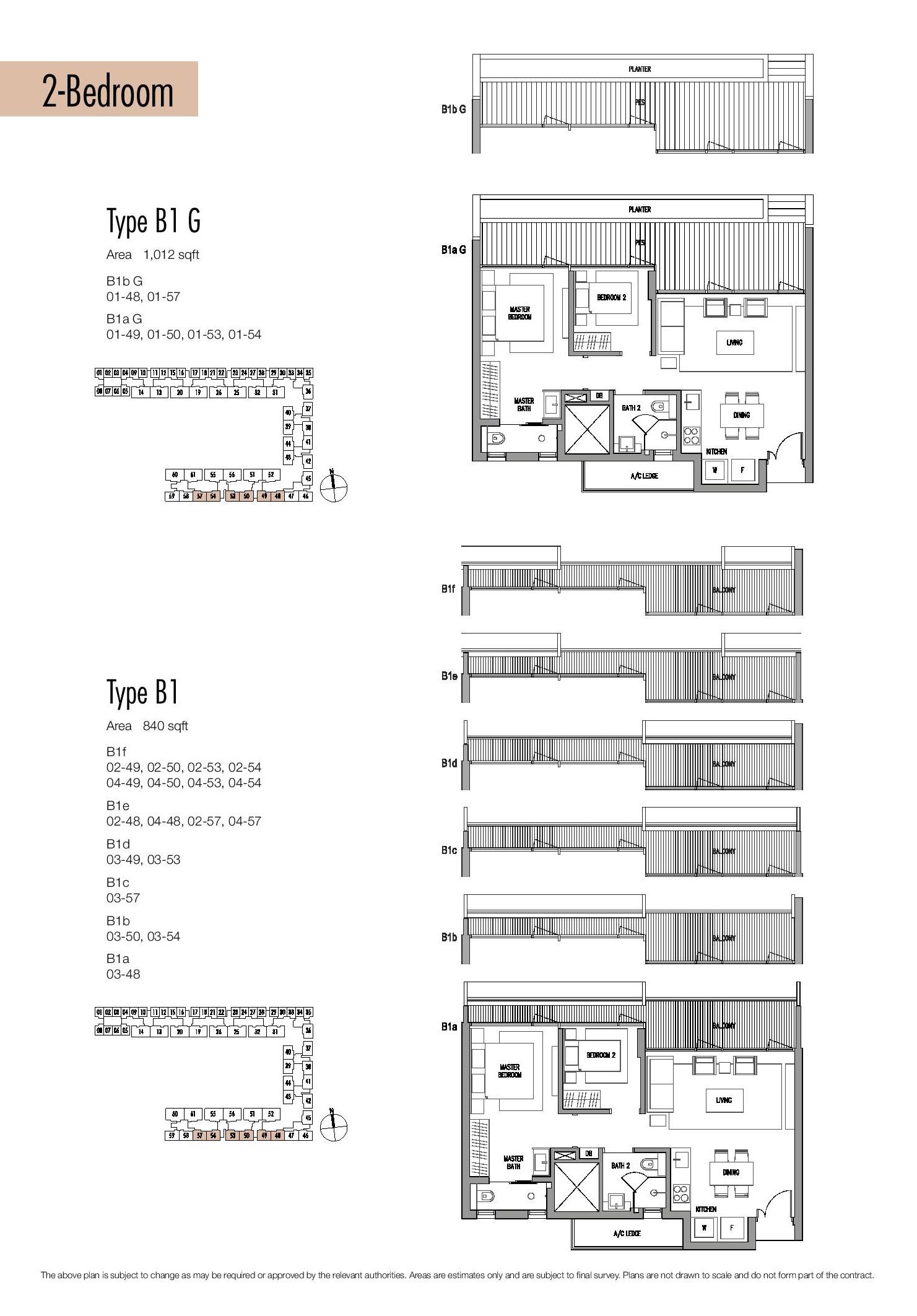 Seletar Park Residence 2 Bedroom Type B1G Floor Plans
