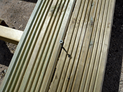 Lay the decking in sequence, starting from one end