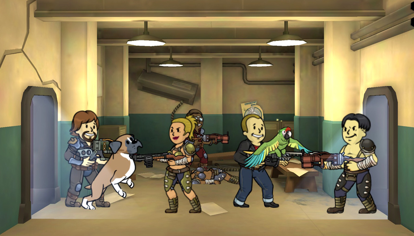 Quest team fighting raiders in Fallout Shelter