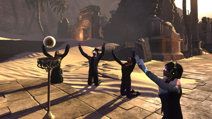 A group of players performing a ritual to summon an empowered Rider manifestation during Samhain 2016 in The Secret World