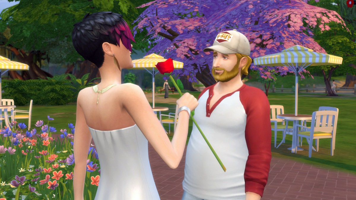 June Kay receives a rose from Steve Fogel in The Sims 4