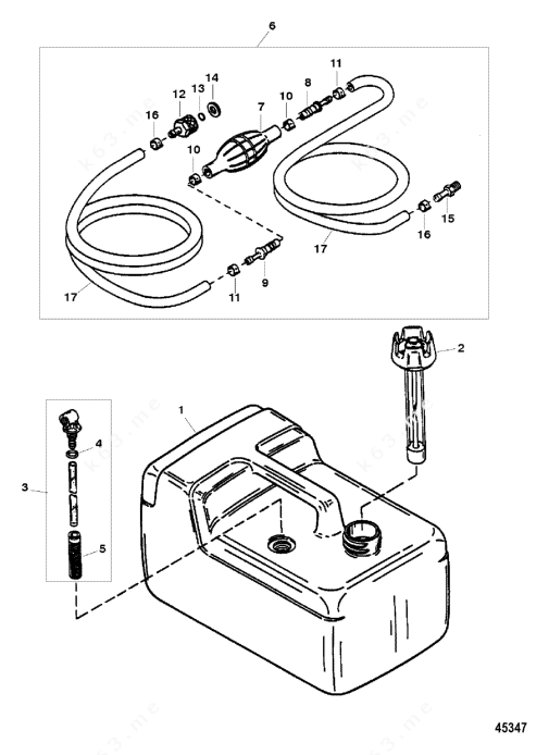 Mercury Force 9.9 H.P. 1996, Fuel Tank and Line Assembly
